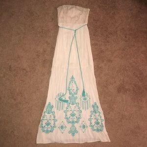 Strapless Beige/Peach Maxi Dress